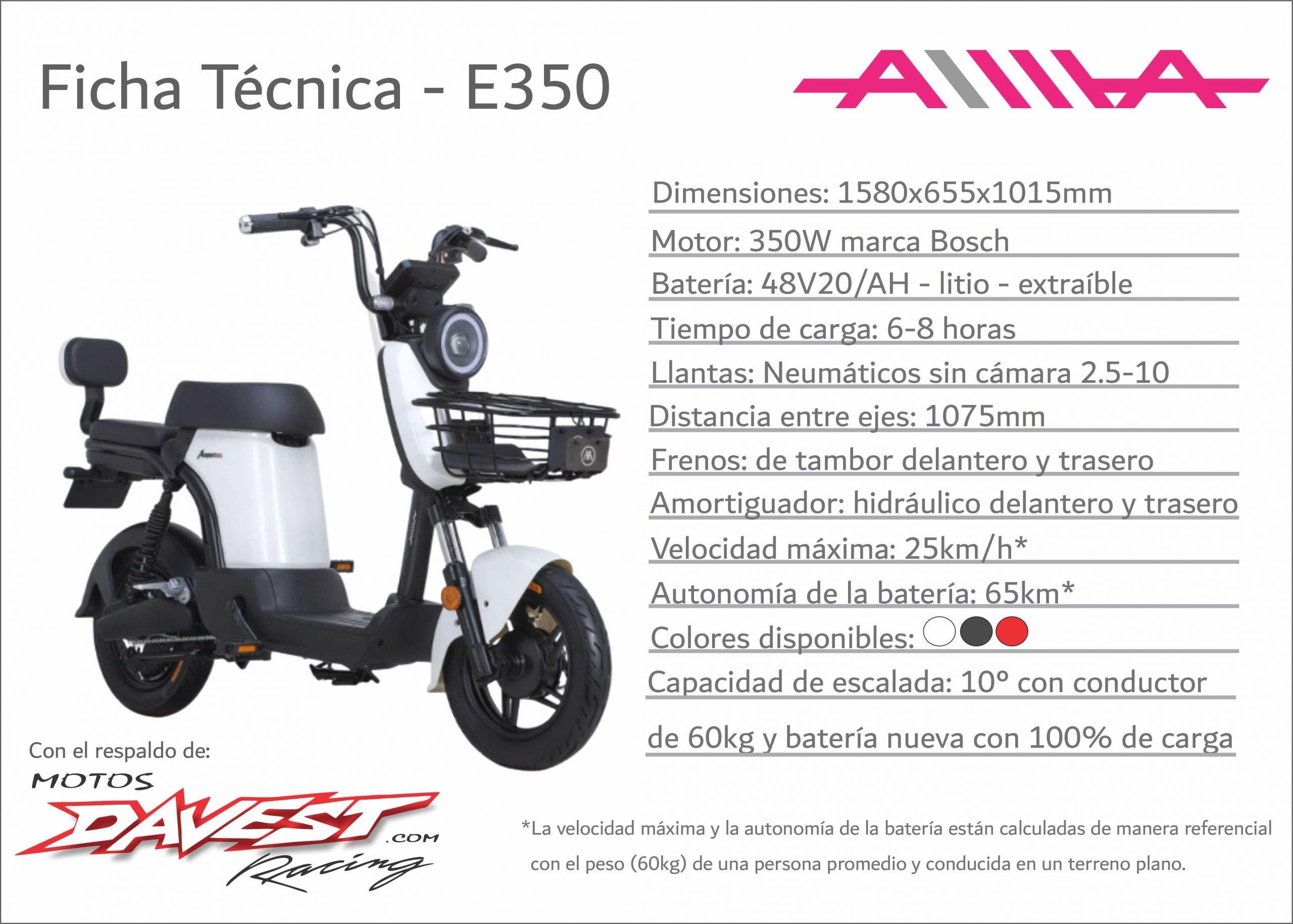 Ficha tecnica E350 scaled AIMA Peru - Motos Electricas Peru