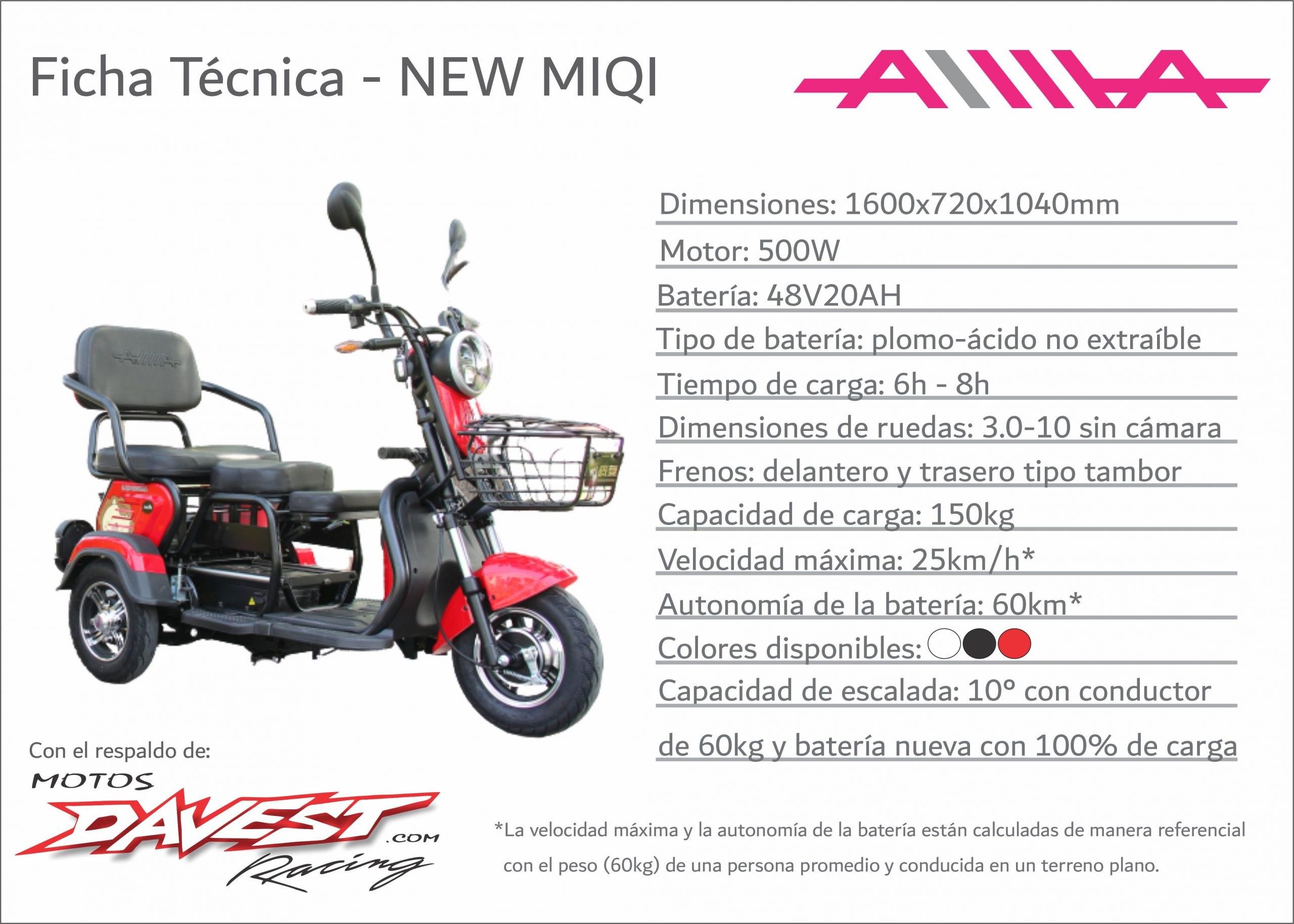 Ficha tecnica NEW Miqi scaled AIMA Peru - Motos Electricas Peru